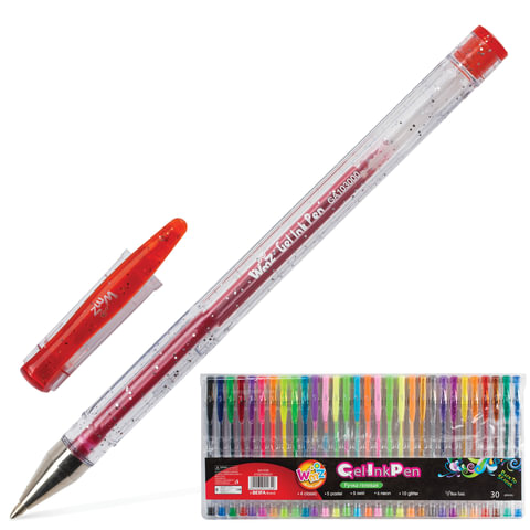 Ручки гелевые BEIFA (Бэйфа), набор 30 шт.,