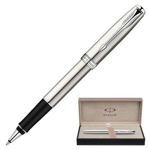 """Ручка-роллер подарочная PARKER """"Sonnet Stainless Steel CT"""", серебристый корпус, хромированные детали, черная, S0809230"""