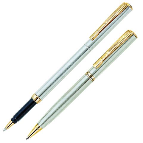 Набор PIERRE CARDIN (Пьер Карден): шариковая ручка + ручка-роллер, корпус серебристый, латунь, PC0865BP/RP, синий