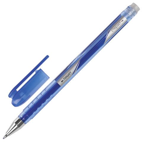 Ручка стираемая гелевая STAFF, корпус синий, хромированные детали, узел 0,5 мм, линия 0,38 мм, синяя, GP190