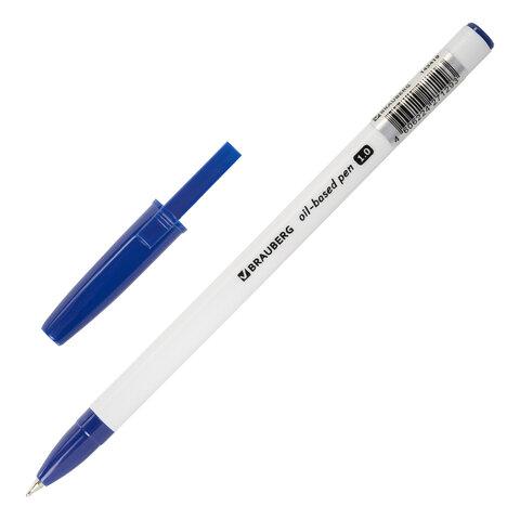 Ручка шариковая масляная BRAUBERG Stick Medium, СИНЯЯ, узел 1 мм, линия письма 0,5 мм, 143419