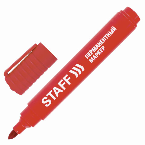 Маркер перманентный (нестираемый) STAFF, КРАСНЫЙ, круглый наконечник, 2,5 мм, 150734