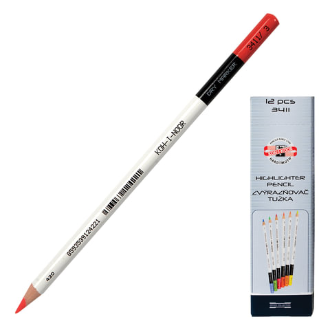 Текстовыделитель-карандаш сухой KOH-I-NOOR, КРАСНЫЙ, линия 3-3,8 мм, 3411003008KS