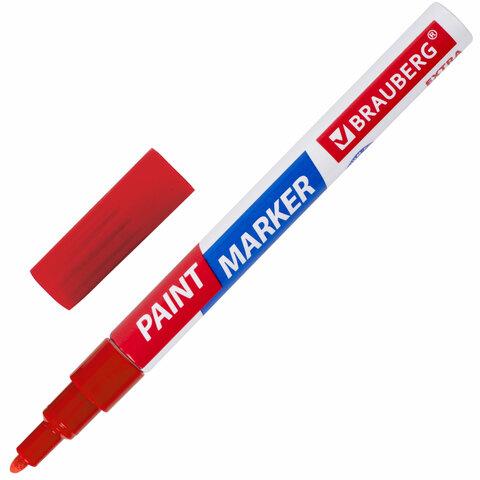 Маркер-краска лаковый EXTRA (paint marker) 2 мм, КРАСНЫЙ, УЛУЧШЕННАЯ НИТРО-ОСНОВА, BRAUBERG, 151969