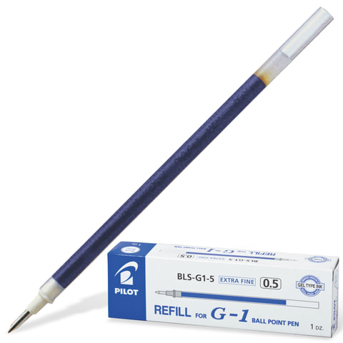 Стержень гелевый PILOT, 128 мм, евронаконечник, узел 0,5 мм, линия 0,3 мм, синий, BLS-G1-5