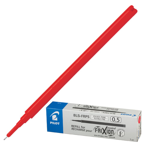 Стержень стираемый гелевый PILOT, 111 мм, КРАСНЫЙ, игольчатый узел 0,5 мм, линия письма 0,25 мм, BLS-FRP-5