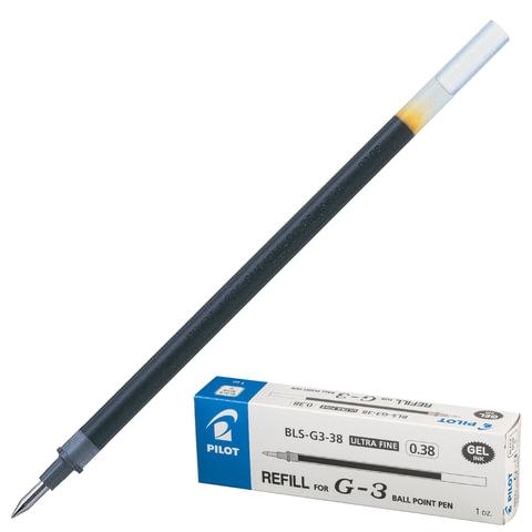 Стержень гелевый PILOT, 128 мм, ЧЕРНЫЙ, узел 0,38 мм, линия письма 0,2 мм, BLS-G3-38