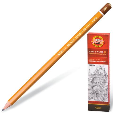 Карандаш чернографитный KOH-I-NOOR 1500, 1 шт., 8B, без резинки, корпус желтый, заточенный, 150008B01170RU