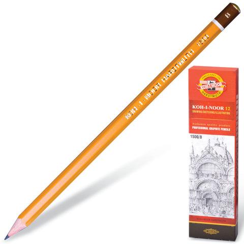 Карандаш чернографитный KOH-I-NOOR 1500, 1 шт., B, без резинки, корпус желтый, заточенный, 150000B01170RU