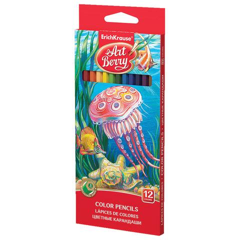 Карандаши цветные ERICH KRAUSE, 12 цветов, шестигранные, заточенные, европодвес, 32878