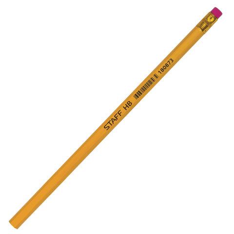 Карандаш чернографитный STAFF, 1 шт., НВ, с резинкой, корпус желтый, незаточенный, 180873