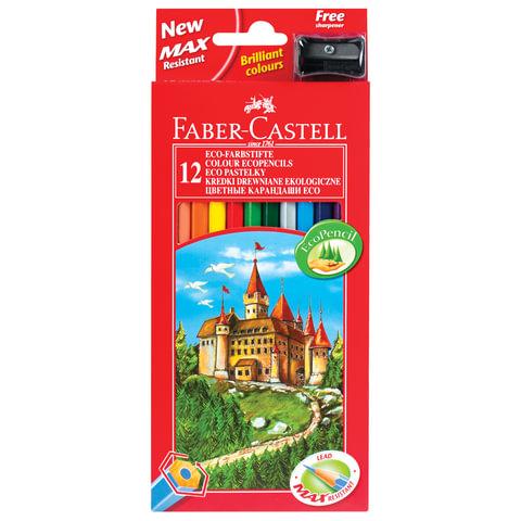 Карандаши цветные FABER-CASTELL, 12 цветов, с точилкой, картонная упаковка с подвесом, 120112