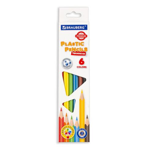 Карандаши цветные пластиковые BRAUBERG PREMIUM, 6 цветов, трехгранные, грифель мягкий 3 мм, 181660