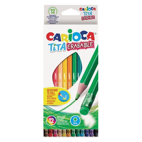 Карандаши цветные стираемые с резинкой CARIOCA