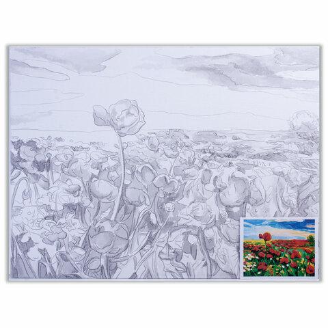 Холст на картоне с контуром BRAUBERG ART