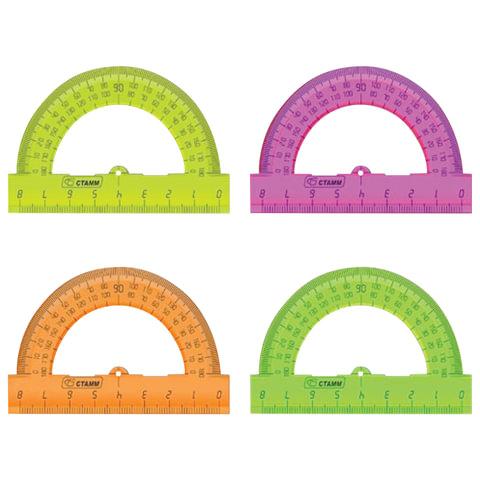 Транспортир 8 см, 180 градусов, пластиковый, СТАММ, тонированный, ассорти, 4 цвета, ТР01