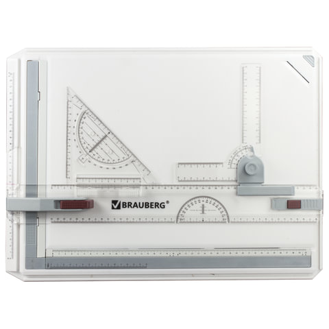 Доска чертежная А3, 505х370 мм, с рейсшиной, треугольником и чертежным узлом, BRAUBERG, 210536
