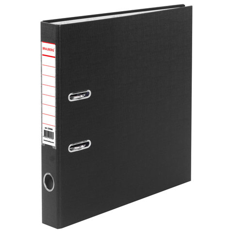 Папка-регистратор BRAUBERG с покрытием из ПВХ, 50 мм, черная (удвоенный срок службы), 220886