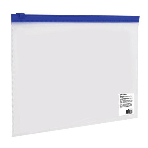 Папка-конверт на молнии МАЛОГО ФОРМАТА (245х190 мм), A5, прозрачная, молния синяя, 0,11 мм, BRAUBERG, 221227