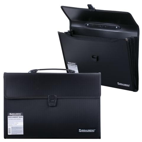 Папка-портфель пластиковая BRAUBERG А4+ (390х260х40 мм), 3 отделения, фактура линейная, черная, 221389