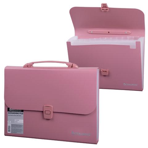Портфель пластиковый BRAUBERG А4 (327х254х30 мм), 13 отделений, индексные ярлыки, розовый, 221441