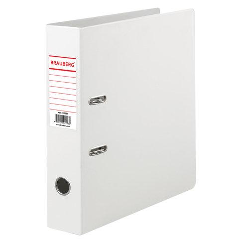 Папка-регистратор BRAUBERG с двухсторонним покрытием из ПВХ, 70 мм, белая, 222651