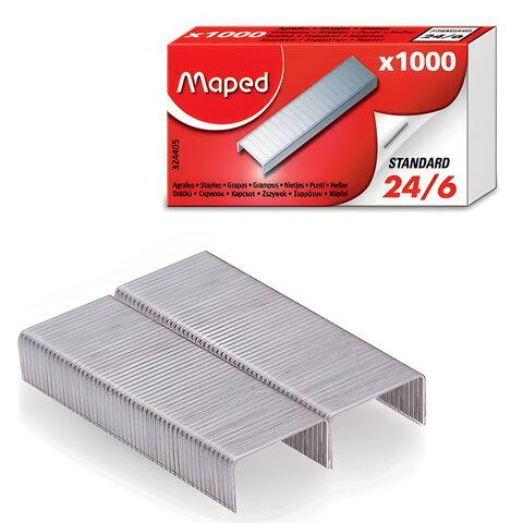 Скобы для степлера 24/6, 1000 штук, MAPED (Франция), до 20 листов, 324405