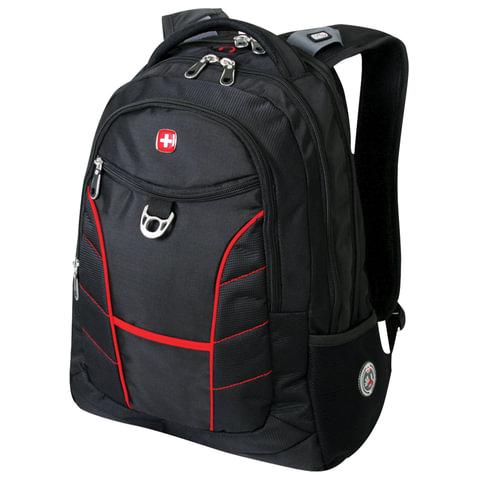 Рюкзак WENGER, универсальный, черный, красные полосы,