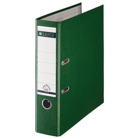 Папка-регистратор LEITZ, механизм 180`, покрытие пластик, 80 мм, зеленая, 10101255, 10101255P
