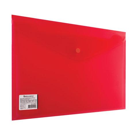 Папка-конверт с кнопкой BRAUBERG, А4, до 100 листов, прозрачная, красная, СВЕРХПРОЧНАЯ 0,18 мм, 224812