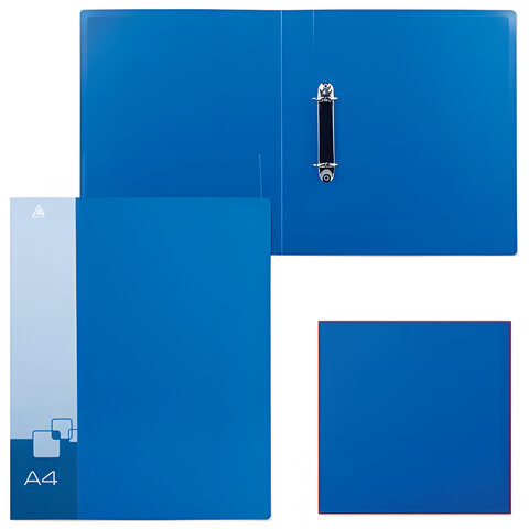 Папка на 2 кольцах БЮРОКРАТ, 40 мм, синяя, внутренний карман, до 250 листов, 0,8 мм, 0812/2Rblue