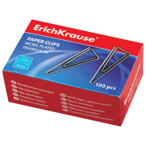 Скрепки ERICH KRAUSE, 32 мм, металлические, треугольные, 100 штук, в картонной коробке, 24870