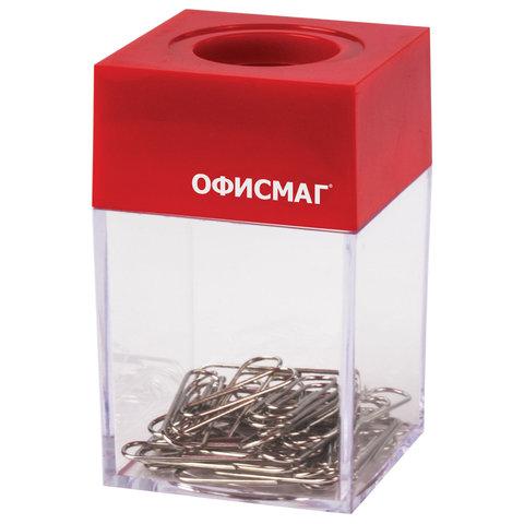 Скрепочница магнитная ОФИСМАГ с 30 скрепками, прозрачный корпус, 225190