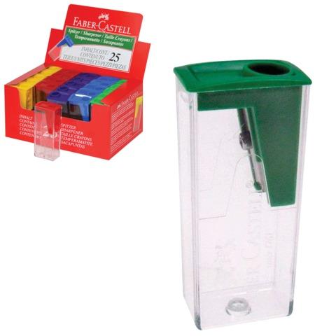 Точилка FABER-CASTELL, с контейнером, прямоугольная, пластиковая, детали ассорти, 581526