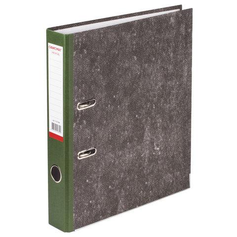 Папка-регистратор ОФИСМАГ, фактура стандарт, с мраморным покрытием, 50 мм, зеленый корешок, 225588