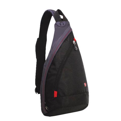 Рюкзак WENGER с одним плечевым ремнем, универсальный, черно-серый, 7 л, 45х25х15 см, 1092230