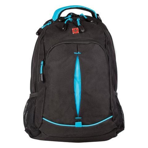 Рюкзак WENGER, универсальный, черный, бирюзовые вставки, 22 л, 32х15х46 см, 3165206408