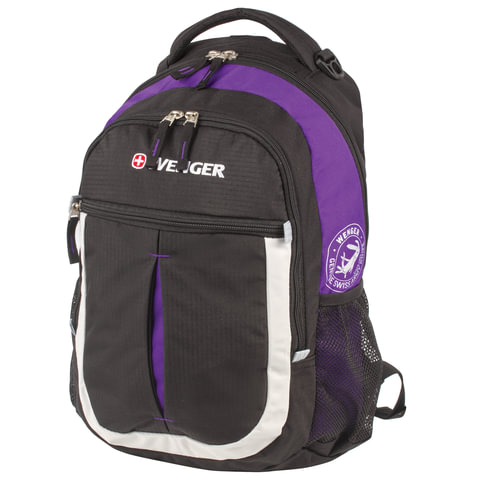 Рюкзак WENGER, универсальный, черно-фиолетовый,
