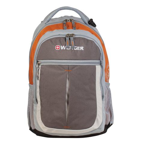 Рюкзак WENGER, универсальный, серо-оранжевый,