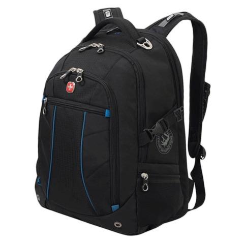 Рюкзак WENGER, универсальный, черный, синие вставки, 32 л, 36х19х47 см, 3118203408