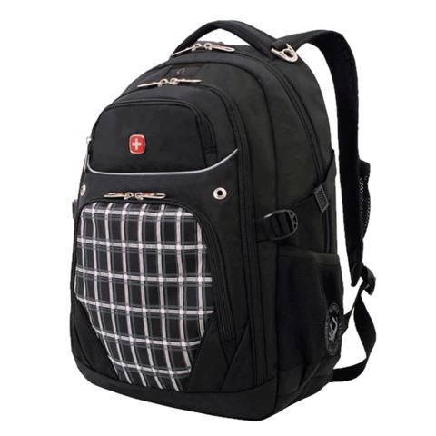 Рюкзак WENGER, универсальный, черный, рисунок клетка, 32 л, 33х20х47 см, 3107204408