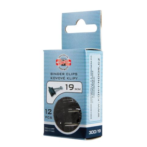 Зажимы для бумаг KOH-I-NOOR, КОМПЛЕКТ 12 шт., 19 мм, на 60 листов, черные, картонная коробка, 9600300119KS