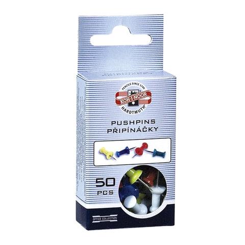 Силовые кнопки-гвоздики KOH-I-NOOR, цветные, 50 шт., 11 мм, в картонной коробке с подвесом, 9600100103KS