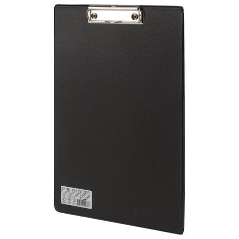 Доска-планшет ОФИСМАГ с прижимом А4 (230х350 мм), картон/ПВХ, РОССИЯ, ЧЕРНАЯ, 225986