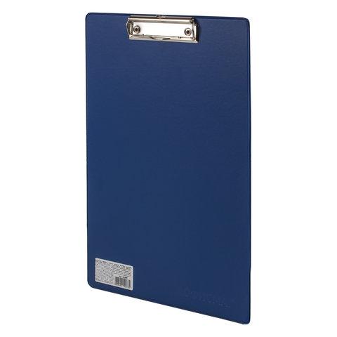 Доска-планшет ОФИСМАГ с прижимом А4 (230х350 мм), картон/ПВХ, РОССИЯ, СИНЯЯ, 225987