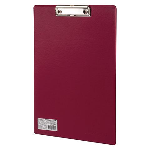 Доска-планшет ОФИСМАГ с прижимом А4 (230х350 мм), картон/ПВХ, РОССИЯ, БОРДОВАЯ, 225988