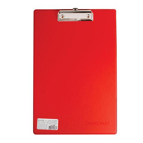 Доска-планшет ОФИСМАГ с верхним прижимом, А4, 23х35 см, картон/ПВХ, Россия, красная, 225991