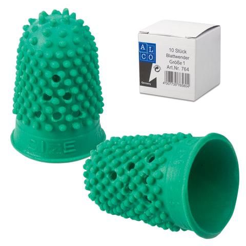 Напальчник для бумаги резиновый, диаметр 16 мм, высота 27 мм, ALCO (Германия) 764, зеленый, 811523