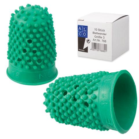 Напальчник для бумаги резиновый, диаметр 18 мм, высота 30 мм, ALCO (Германия) 766, зеленый, 811525