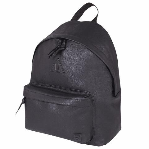 Рюкзак BRAUBERG универсальный, сити-формат, черный, кожзам,